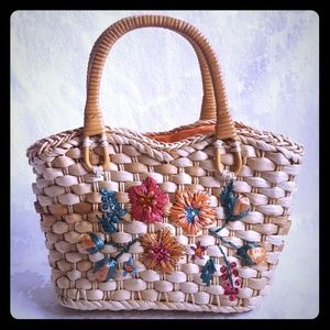 Handbags - ⚀ Woven Straw Bag Woven Flowers & Rattan Handles